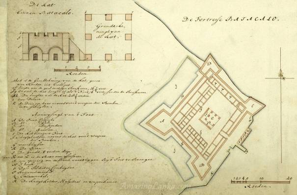 Dutch Fort of Batticaloa drawn in the 17th century - From the national archives of Netherlands