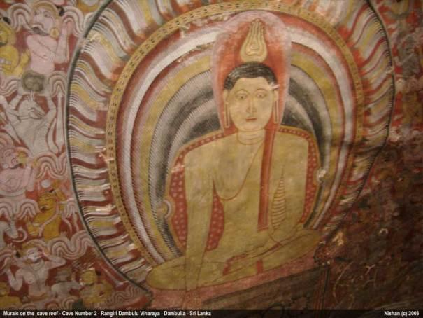 Rangiri Dambulu Viharaya / Dambulla Cave Temple - Cave Number 2 - Maharajalena Murals on the cave ceiling