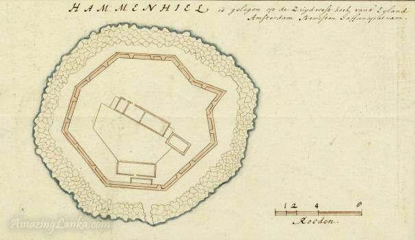A plan of the Hammenhiel Fort in Jaffna, Sri Lanka drawn in the 17th century - From the national archives of Netherlands