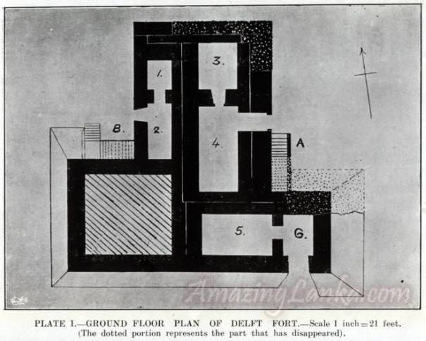 Ground floor plan of Delft Fort published in 1923 on the FORTS OF THE JAFFNA ISLANDS by Joseph Pearson