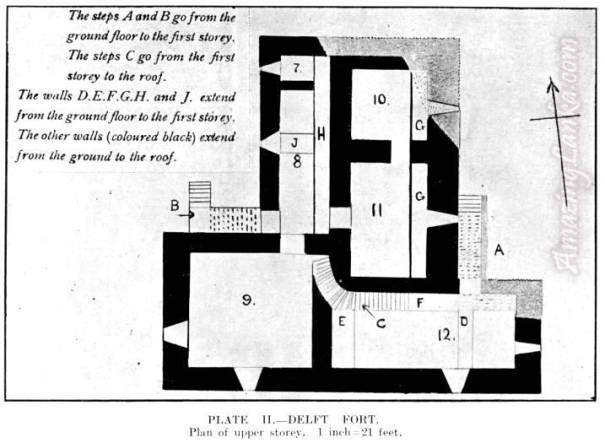 Upper floor plan of Delft Fort published in 1923 on the FORTS OF THE JAFFNA ISLANDS by Joseph Pearson