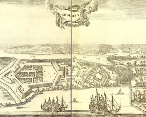 Antique print of the Batticaloa Fort, Sri Lanka by Baldaeus, printed in 1672 for the Dutch first edition of Baldaeus' work 'A true and exact description of the most celebrated East-India coasts of Malabar and Coromandel and also of the Isle of Ceylon' published in Amsterdam, 1672 by Janssonius van Waasberge en van Someren