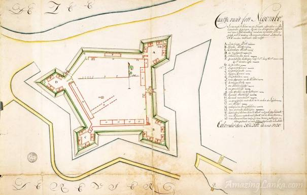 A map of Negombo fort drawn by the Dutch after repairs (year 1720)