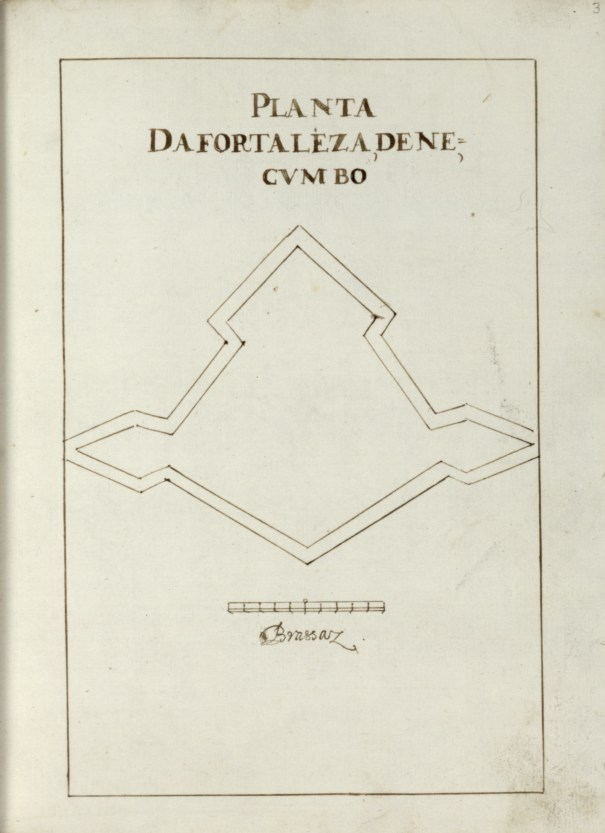A map of Negombo fort drawn by the portuguese  in 1650