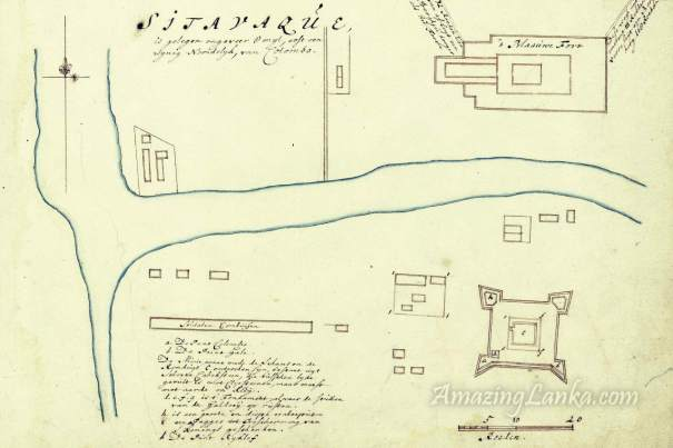 A 1695  map of Portuguese fort at Sithawaka from the Dutch National Archives