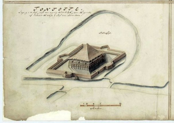 17th century map of Portuguese fort at Menikkadawara identified as Tontotte Fort