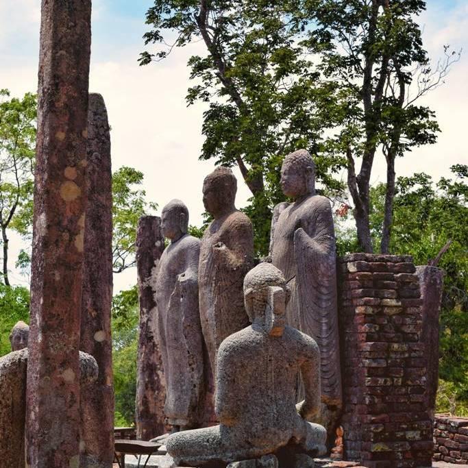 Standing Buddha statues at Pichcha Mal Viharaya at Medirigiriya Vatadage
