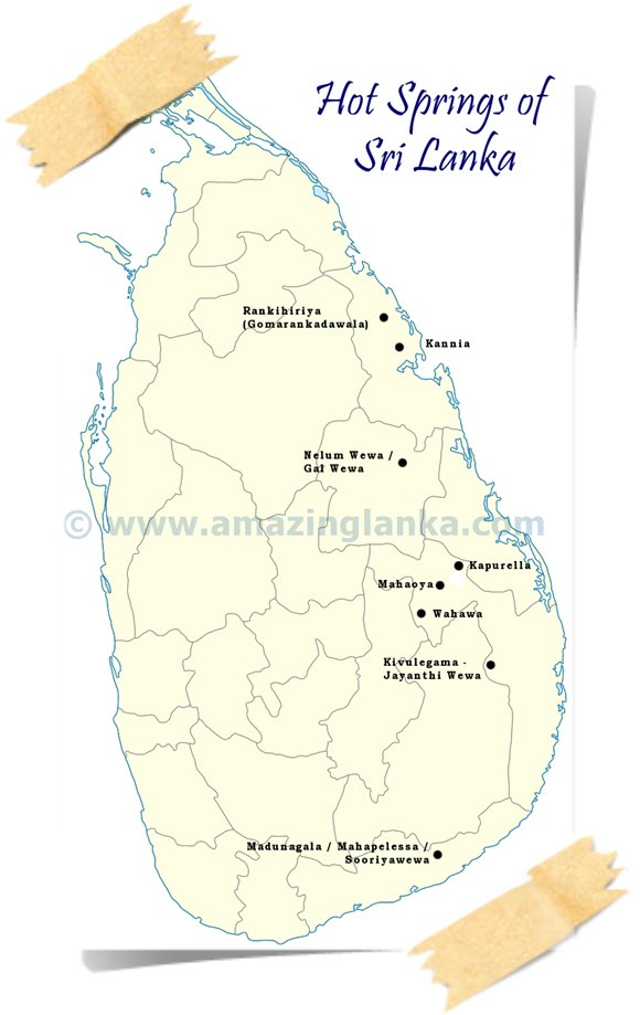 Map of Hot Springs in Sri Lanka