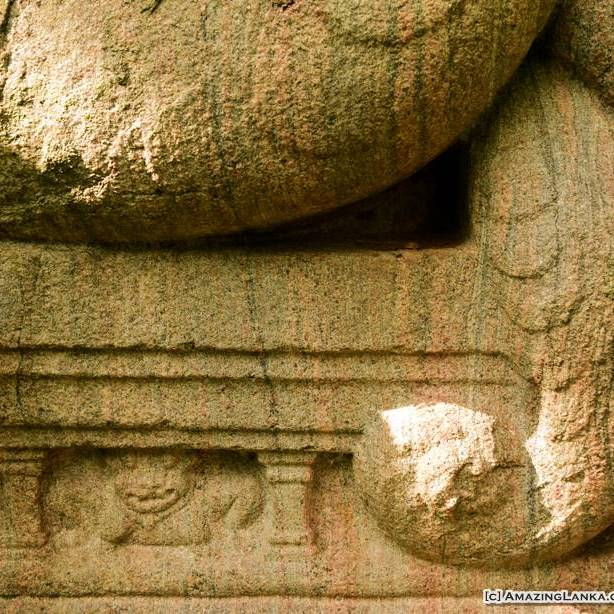 Carvings of the scales of the snake still can be seen even after thousands of years at the bottom of the seven hooded cobra guardstone at the ancient sluice gate of Urusita Wewa Reservoir