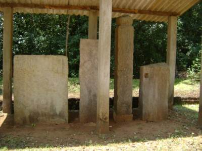 Some preserved stone inscriptions were in a shed put up by Archeology department at archaeological site at Parakramapura - Padaviya