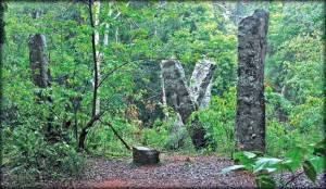 Stone pillars of the Kuveni Maligawa in the heart of the Wilpattu jungle