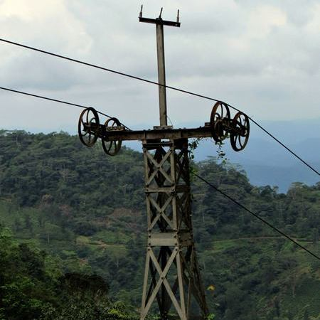 Cable car infrastructure which once carried tea leaves of the Wewalthalawa Plateau to its tea factory at the bottom.