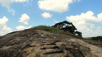 Ruins of a dagoba and the steps leading towards it at the top of the Sangaman Kanda