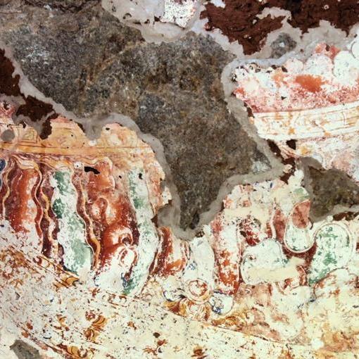 Fading frescoes on the 2nd cave image house at Sri Nagala Rajamaha Viharaya at Nikawewa