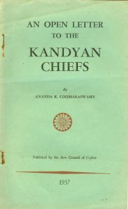 AN OPEN LETTER TO THE KANDYAN CHIEFS BY ANANDA K. COOMARASWAMY - Cover page