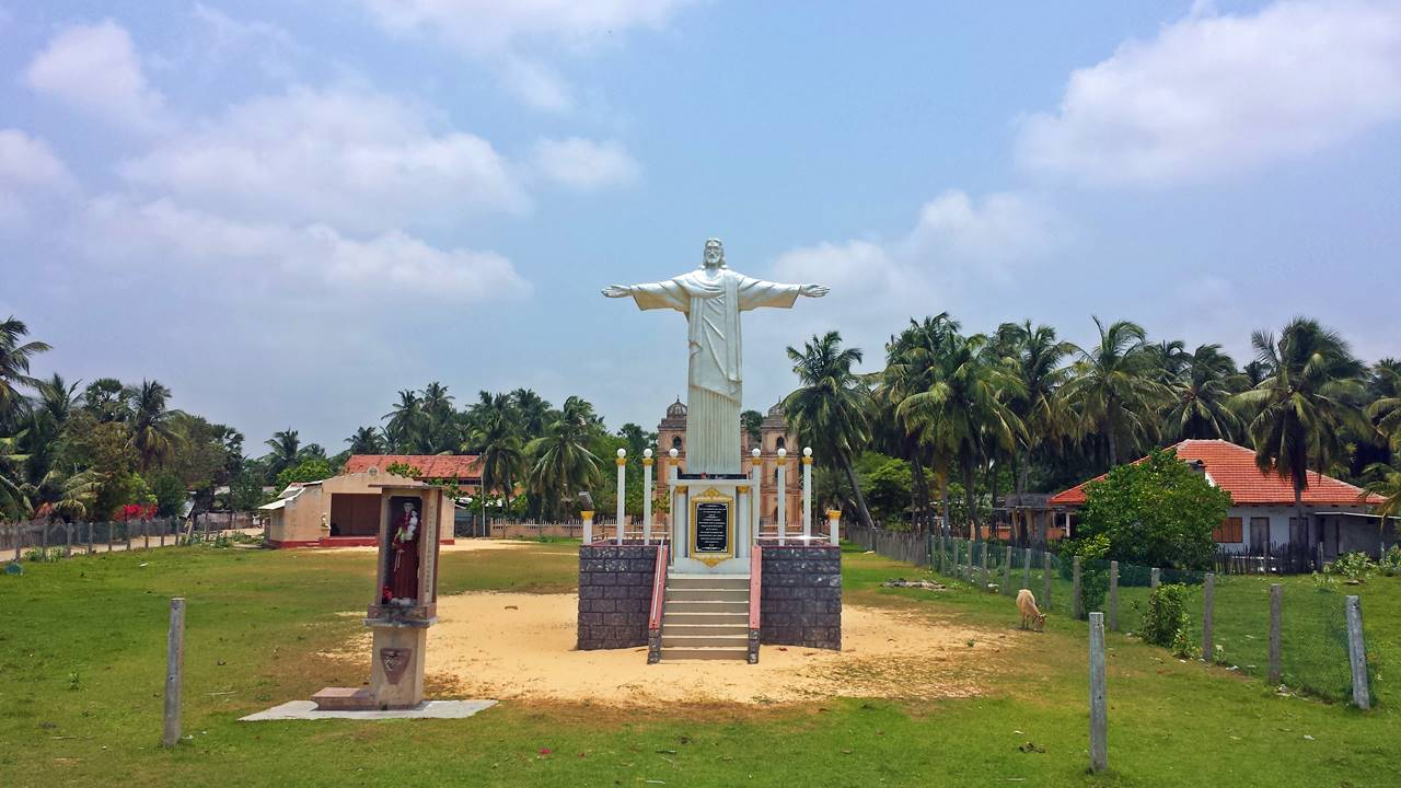 Replica of the 30 meter Christ the Redeemer Statue of Rio de Janeiro in Brazil at the Manalkadu new St. Anthony's Church.