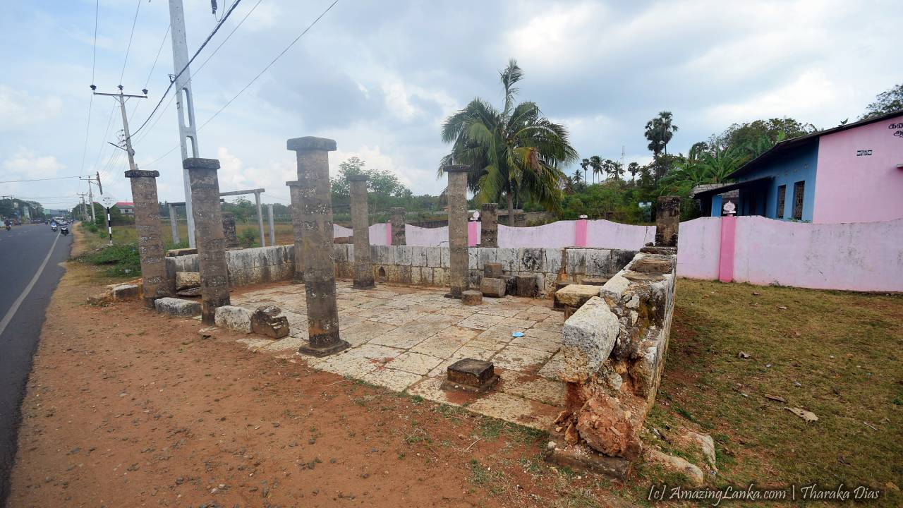 Ruins of the ancient building in front of the the ancient Pond at Nelliady Muthukumara Swamy Kovil in Jaffna