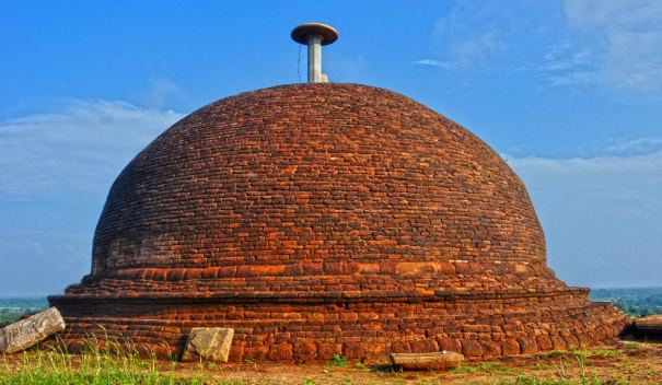 Stupa in its original form after restoration at the Thammennakanda Purana Viharaya and Archaeological Site