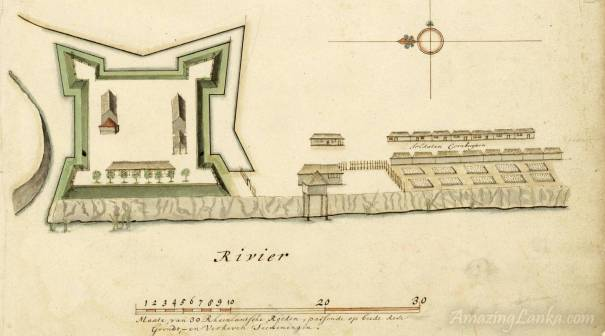 A plan of the Malwana Fort, Sri Lanka drawn in the 17th century - From the National Archives of Netherlands