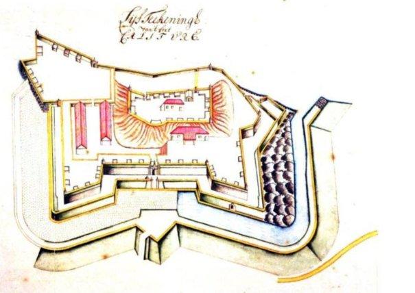 1717-1721 අතර රම්ෆ්ගේ දිනපොතන් (ලංකාවේලන්දේසි ආණ්ඩුකාරතුමා) වර්ණ ගැන්වූ පින්තූර -කළුතර බලකොටුව සැලැස්මක් - A plan of the Kalutara Fort drawn between 1717-1721