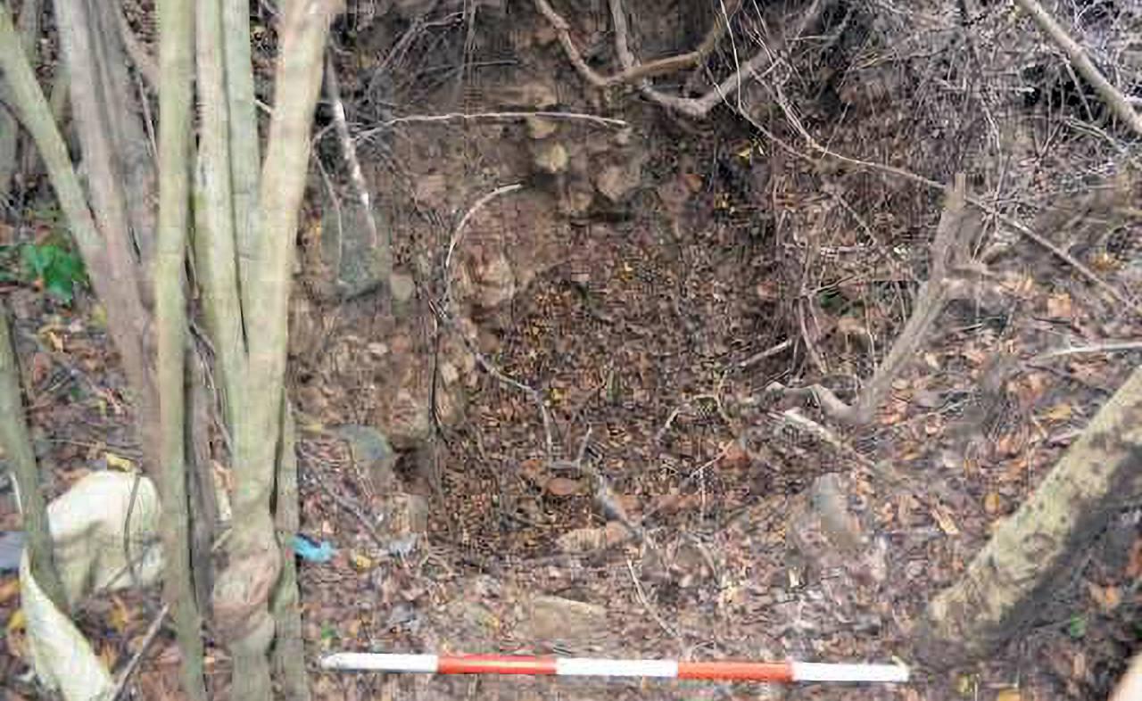 වැලිඔය පොඩිගල්කන්ද පුරාවිද්යා ස්ථානයේ නිදන් කොල්ලකරුවන්ට බිලිවූ ස්තූපය  - Welioya Podigalkanda Archaeological  Site