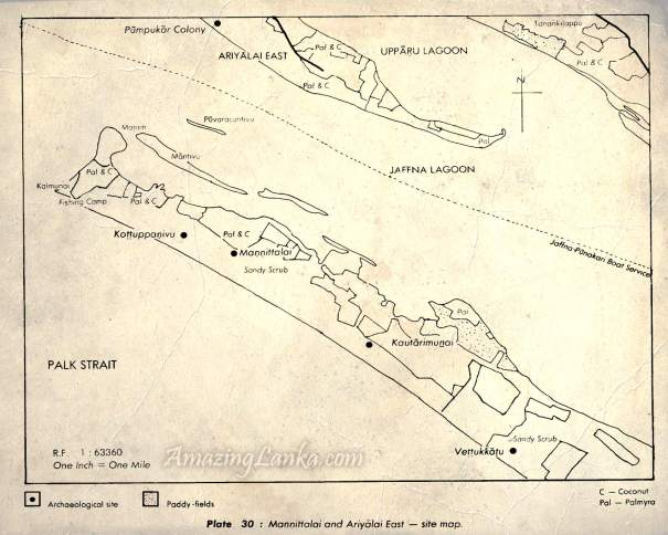 Map of early settlement sites on the Manniththalai Sand Bar from Early settlements in Jaffna : An Archaeological Survey