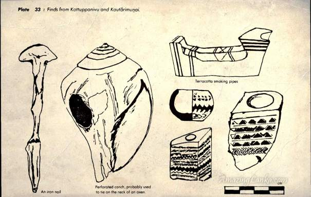 Unique discoveries from the Kottuppanivu and Kautarimunai sites from 'Early settlements in Jaffna : An Archaeological Survey'