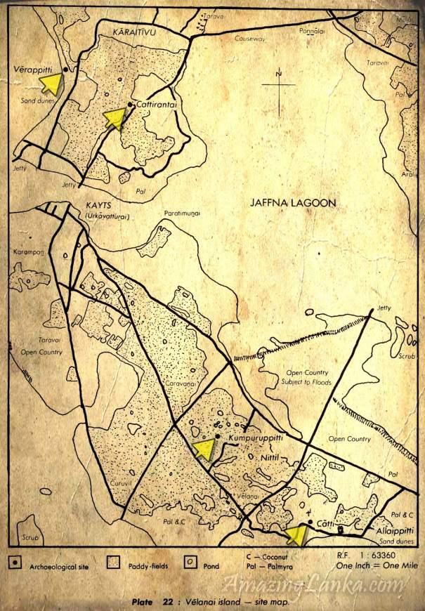 Kumpuruppitti, Cölavattai, Nittil, Avarantalä : Velanai Island Sites map from Early settlements in Jaffna : An Archaeological Survey