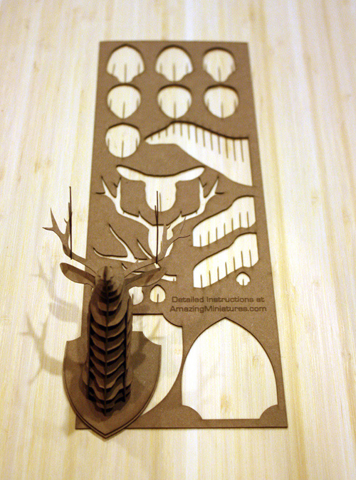Assembly Instructions for Cardstock Deer Trophy Head