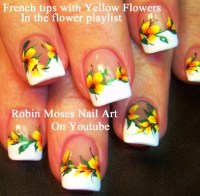 Teel Flower French Tip Nail Art | AmazingNailArt.org
