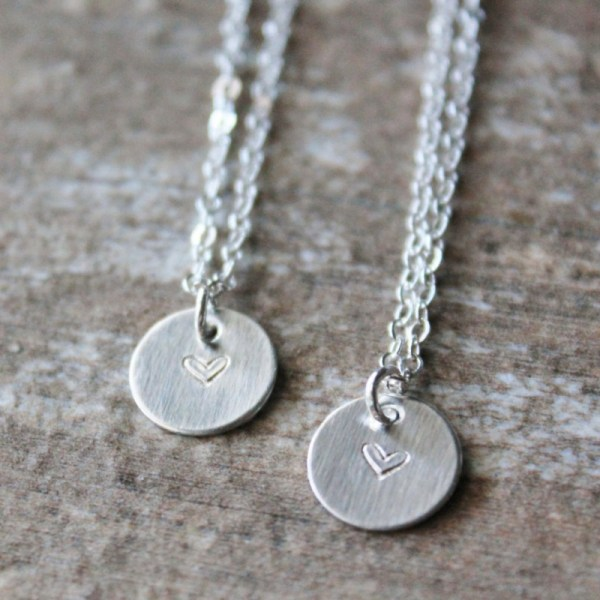 Sterling Silver Friends Necklace Set Mom And