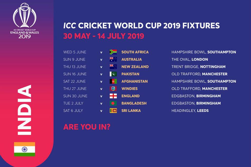 India Match Schedule Cricket Wc 2019 Amazing Oman