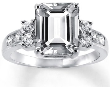 lab created white sapphire engagement ring