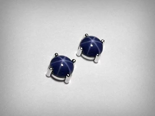 star sapphire studded earrings