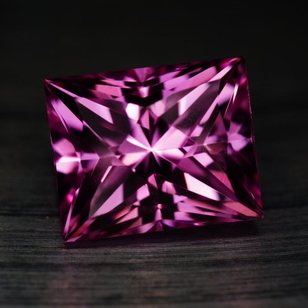 lab created pink sapphire in an advanced faceting design