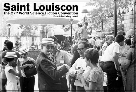 Jack Gaughan (glasses, hat, left of center); Andrew Porter (Algol, Science Fiction Chronicle) obscured by Jack and Lee Hoffman (left of Gaughan, glasses, hat), publisher of Quandry & Science Fiction Five Yearly
