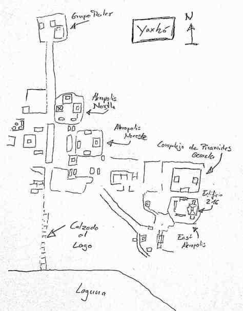 Yaxhá: Map of Maya site in Guatemala
