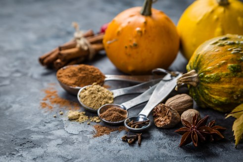 Pumpkin pie spices in measuring cups, rustic background