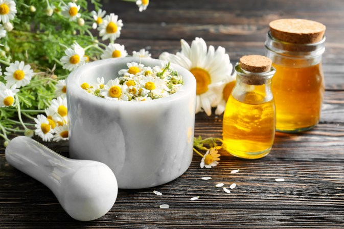 essential oil and chamomile flowers