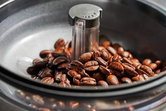 fresh coffee beans in coffee Machine grinders.