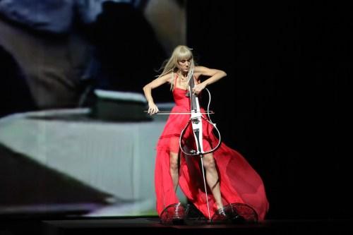 ZAGREB, CROATIA - OCTOBER 18: Ana Rucner playing cello and weari
