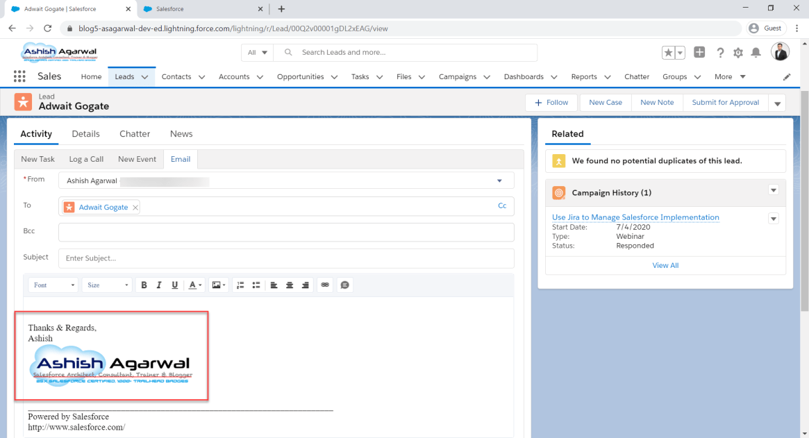 image in email signature in salesforce