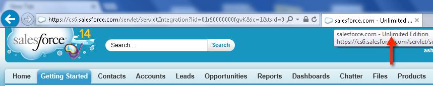 Check Salesforce Edition in Internet Explorer