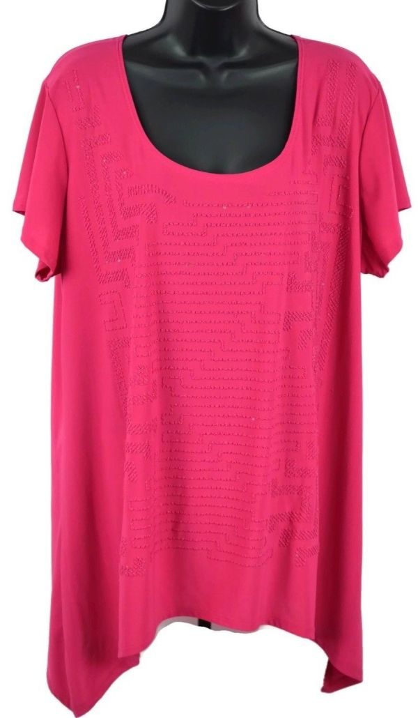 #women Navy Womens Size 2x Hot Pink Fuschia Knit Tee Shirt Top Pocket Extras