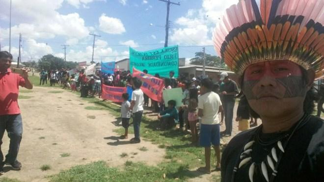 Protesto em Uiramutã, em Roraima (Foto: Enilton Taurepang)