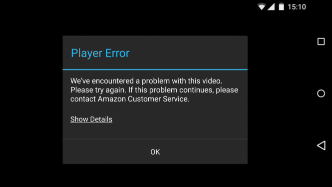 Error message watching Amazon Instant Video on Android