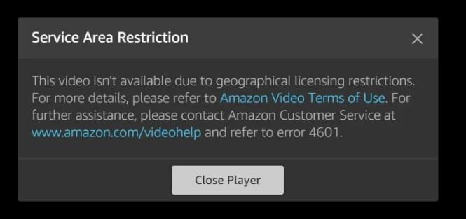 Error 4601 Amazon