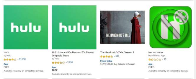 The results of doing a search for Hulu on Amazon