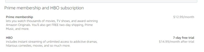 Buy an HBO subscription at Amazon.com