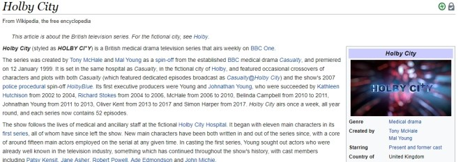 You can find a lot of information about Holby City on Amazon Prime